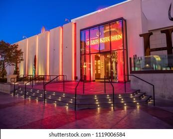 Las Vegas, Nevada / USA - June 7, 2018: Hell's Kitchen restaurant in  Las Vegas at night.  It is a Gordon Ramsay restaurant.