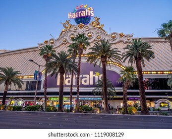 Las Vegas, Nevada / USA - June 7, 2018: The facade of the famous Harrah's Hotel and Casino at night.