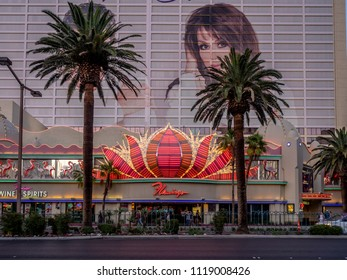 Las Vegas, Nevada / USA - June 7, 2018: The facade of the famous Flamingo Hotel and Casino at night.