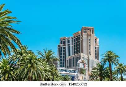 Las Vegas, Nevada / USA - June 18 2017: Treasure Island Hotel and  Mirage Hotel, the front of one of the most luxurious and famous hotels and casinos in Las Vegas. Day trip along the Strip Street