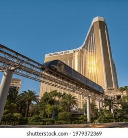 LAS VEGAS, NEVADA, USA - JUNE 13, 2012:  View of a Monorail Train in front of Mandalay Bay Resort Hotel