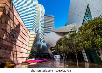 Las Vegas, Nevada / USA - March 18, 2018: The Aria Resort and Casino and The Shops at Crystals courtyard on March 18, 2018.