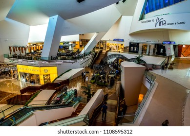 Las Vegas, Nevada / USA - March 18, 2018: The Shops at Crystals interior at The Aria Resort and Casino featuring part of The Aria Fine Art Collection on March 18, 2018.