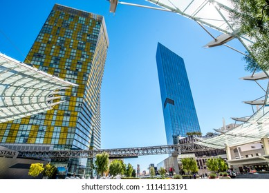 Las Vegas, Nevada / USA - March 18, 2018: The Veer Towers and The Mandarin Oriental Residences at CityCenter in Las Vegas as viewed from The Aria Resort and Casino.