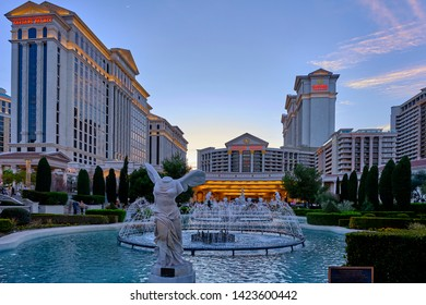 Las Vegas, Nevada / USA - March 03, 2019 : View of the Caesars Palace Hotel and Casino at evening. Caesars Palace and Casino is one of the largest in Las Vegas.
