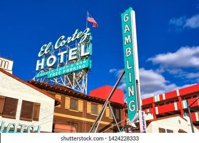 73e250740cfcd1 Las Vegas, Nevada / USA - March 06 2019: El Cortez Hotel neon sign