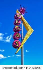 Las Vegas, Nevada / USA - March 06 2019: Las Vegas Art Deco neon sign high above the Fremont Street.