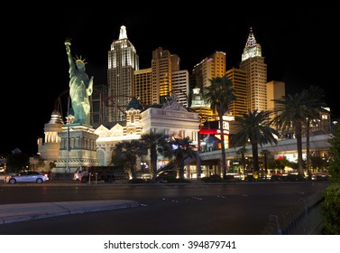 Las Vegas, Nevada USA - March, 10th 2016. Famous Vegas Strip is home to the largest hotels and casinos in the world.