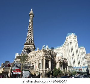 LAS VEGAS, NEVADA , USA - MARCH 22, 2016: Paris Hotel, replica of Eiffel Tower and casino in Las Vegas. Stretching 4.2 miles, the 'Strip' is the home to the largest hotels and casinos in the world.