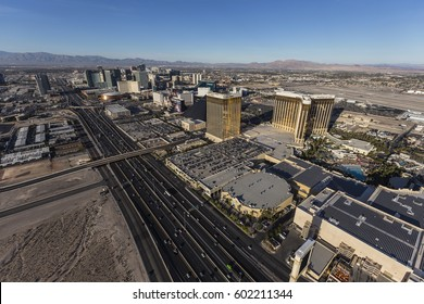 Las Vegas, Nevada, USA - March 13, 2017:  Aerial view of Las Vegas strip resorts and interstate 15 in Southern Nevada.