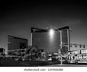 LAS VEGAS, NEVADA, USA - MAY 5, 2009: Working round-the-clock modern Vegas hotels and casinos Wynn and Encore in Las Vegas, Nevada on May 5, 2009.