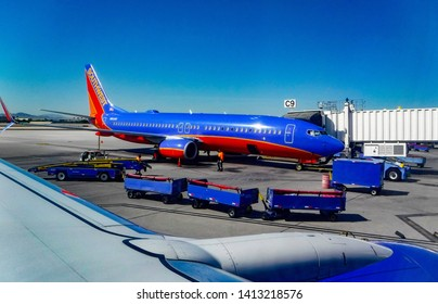Las Vegas, Nevada / USA - May 4, 2019: Southwest Airline flight on the tarmac of McCarran International Airport.