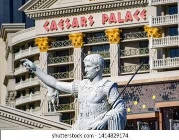 Las Vegas, Nevada / USA - May 1, 2019: Caesars Palace Casino Hotel view from street level architecture. Augustus was a Roman statesman and military leader, first emperor of the Roman Empire.