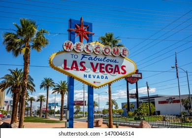 Las Vegas Nevada, USA. May 29, 2019. Welcome to fabulous Las Vegas sign. Sunny spring day, blue sky