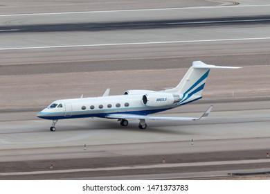 Las Vegas, Nevada, USA - May 6, 2013: Las Vegas Sands Corporation Gulfstream G-IV luxury business jet N883LS at McCarran International Airport Las Vegas.