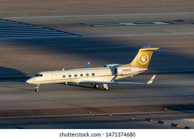 Las Vegas, Nevada, USA - May 7, 2013: Gulfstream G-V luxury business jet N168CE at McCarran International Airport Las Vegas.