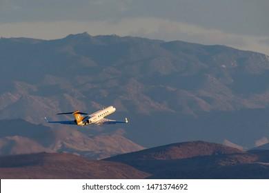 Las Vegas, Nevada, USA - May 7, 2013: Gulfstream G-V luxury business jet N168CE departing McCarran International Airport Las Vegas.