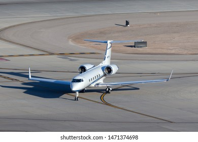 Las Vegas, Nevada, USA - May 7, 2013: Gulfstream G-IV luxury business jet N67TM at McCarran International Airport Las Vegas.
