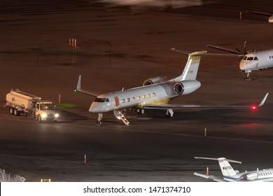 Las Vegas, Nevada, USA - May 5, 2013: Gulfstream G-V luxury business jet N721MM at McCarran International Airport Las Vegas.