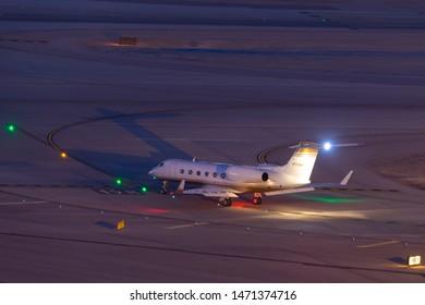 Las Vegas, Nevada, USA - May 7, 2013: Gulfstream G-IV-X luxury business jet N723MM at McCarran International Airport Las Vegas.