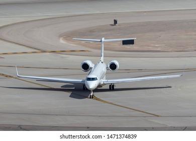 Las Vegas, Nevada, USA - May 6, 2013: Gulfstream G550 luxury business jet N928GC at McCarran International Airport Las Vegas.