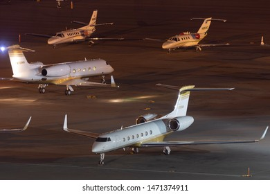 Las Vegas, Nevada, USA - May 5, 2013: Gulfstream G550 luxury business jet N725MM at McCarran International Airport Las Vegas.