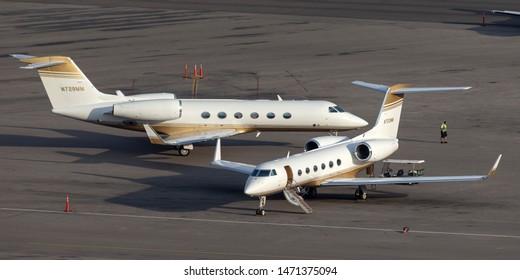 Las Vegas, Nevada, USA - May 5, 2013: Gulfstream G-IV-X luxury business jet N723MM at McCarran International Airport Las Vegas.