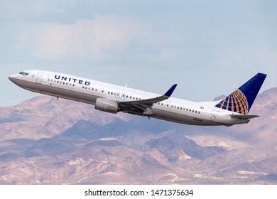 Las Vegas, Nevada, USA - May 8, 2013: United Airlines Boeing 737 airliner departing McCarran International Airport in Las Vegas.
