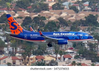 Las Vegas, Nevada, USA - May 5, 2013: Sun Country Airlines Boeing 737 airliner aircraft on approach to land at McCarran International Airport in Las Vegas.