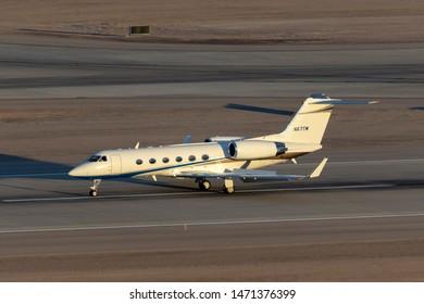 Las Vegas, Nevada, USA - May 8, 2013: Gulfstream G-IV luxury business jet N67TM at McCarran International Airport Las Vegas.