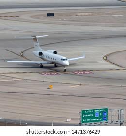 Las Vegas, Nevada, USA - May 5, 2013: Gulfstream G450 luxury business jet N728MM at McCarran International Airport Las Vegas.