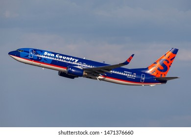 Las Vegas, Nevada, USA - May 8, 2013: Sun Country Airlines Boeing 737 airliner takes off from McCarran International Airport in Las Vegas.