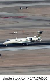 Las Vegas, Nevada, USA - May 8, 2013: Embraer EMB-135BJ luxury business jet N910FL at McCarran International Airport Las Vegas.
