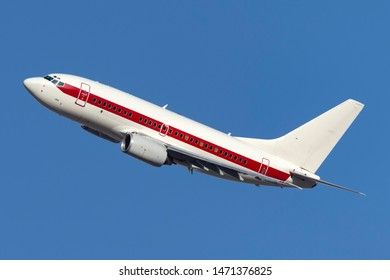 Las Vegas, Nevada, USA - May 8, 2013: Boeing 737 operated by defense contractor EG&G (Janet Airlines) to transport workers to and from the highly secretive and famous Area 51 base at Groom Lake.