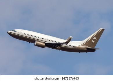 Las Vegas, Nevada, USA - May 8, 2013: Luxury Boeing business jet (737-79U BBJ) operated by Wynn Resorts.
