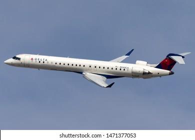 Las Vegas, Nevada, USA - May 8, 2013: Delta Connection Bombardier CRJ-900LR regional airliner aircraft departing McCarran International Airport in Las Vegas.