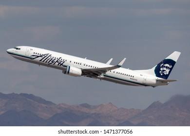 Las Vegas, Nevada, USA - May 8, 2013: Alaska Airlines Boeing 737-900 airliner climbing on departure from McCarran International Airport in Las Vegas.