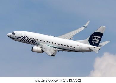 Las Vegas, Nevada, USA - May 8, 2013: Alaska Airlines Boeing 737-700 airliner taking off from McCarran International Airport in Las Vegas.