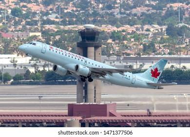 Las Vegas, Nevada, USA - May 8, 2013: Air Canada Embraer ERJ-190 regional airliner jet taking off from McCarran International Airport in Las Vegas.