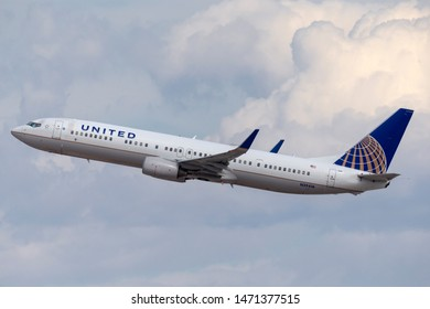 Las Vegas, Nevada, USA - May 8, 2013: United Airlines Boeing 737 aircraft taking off from McCarran International Airport in Las Vegas.
