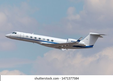 Las Vegas, Nevada, USA - May 8, 2013: Gulfstream G-550 luxury business jet N128GV departing McCarran International Airport Las Vegas.