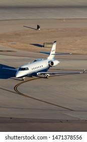 Las Vegas, Nevada, USA - May 8, 2013: Luxury Gulfstream G200 business jet on the tarmac at McCarran International Airport Las Vegas.