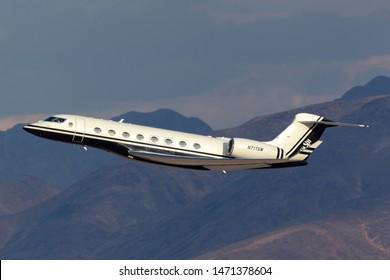 Las Vegas, Nevada, USA - May 9, 2013: Gulfstream G650 long range luxury business jet owned by Steve Wynn departing McCarran International Airport Las Vegas.
