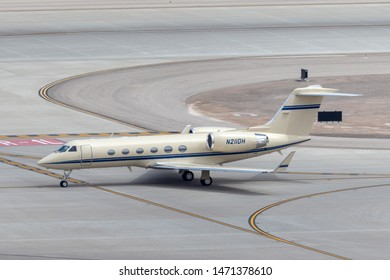 Las Vegas, Nevada, USA - May 8, 2013: Gulfstream G-IV luxury business jet N211DH at McCarran International Airport Las Vegas.