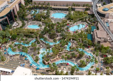 Las Vegas, Nevada, USA - May 6, 2013: MGM Grand Pool complex attached to the MGM Grand hotel and casino isn Las Vegas.