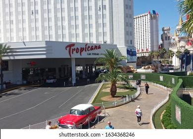 Las Vegas, Nevada, USA - MAy 22, 2016: Tropicana Las Vegas Casino Hotel Resort, Chevrolet Bel Air Sedan Car -57 in front.