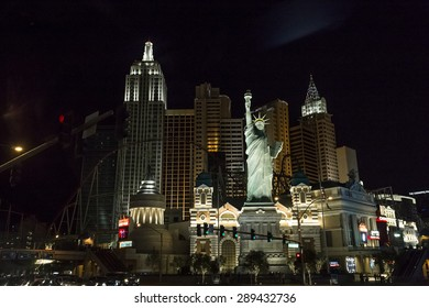LAS VEGAS, NEVADA, USA, may 14, 2015 : lights on the Strip at night, Las Vegas boulevard, may 14, 2015 in Las Vegas, Nevada