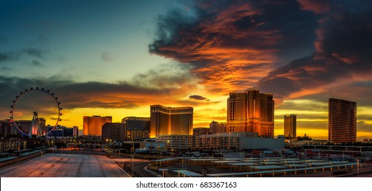 LAS VEGAS, NEVADA, USA - MAY 20, 2016 : Sunset panorama above casinos on the Las Vegas Strip.