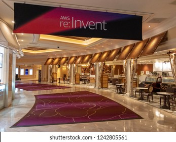 Las Vegas, Nevada, USA - November 27, 2018 - AWS Re:Invent conference sign in the empty hallway of Mirage hotel.