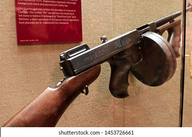 """Las Vegas, Nevada USA - Oct 30, 2015 : Photo of the The Mob Museum display Thompson submachine gun. Also used in mafia movies such as the movie """"The Godfather"""""""